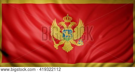 3d Rendering Of A Detail Of A Silked Montenegro Flag