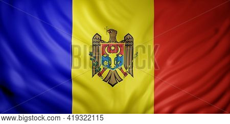 3d Rendering Of A Detail Of A Silked Moldova Flag