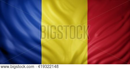 3d Rendering Of A Detail Of A Silked Romania Flag