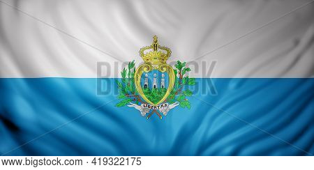 3d Rendering Of A Detail Of A Silked San Marino Flag