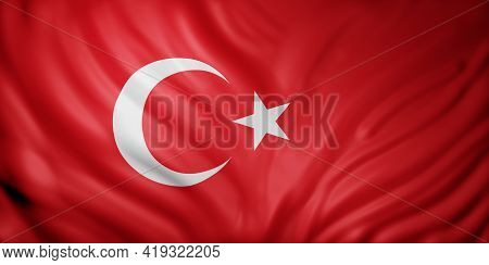 3d Rendering Of A Detail Of A Silked Turkey Flag