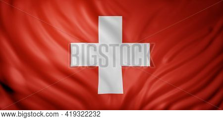 3d Rendering Of A Detail Of A Silked Switzerland Flag