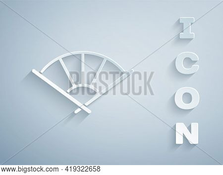 Paper Cut Traditional Paper Chinese Or Japanese Folding Fan Icon Isolated On Grey Background. Paper