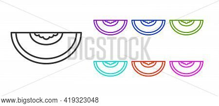 Black Line Melon Fruit Icon Isolated On White Background. Set Icons Colorful. Vector