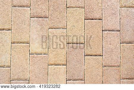 Brick Pattern Floor Tile Texture Material For Outdoor Landscape. Red, Antique Rectangular Ceramic Cl