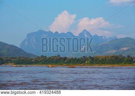 Beautiful natural landscapes in Mekong river, Laos