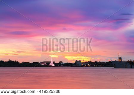 The Atmosphere During The Beautiful Twilight From The Shore Of The Chao Phraya River. Chao Phraya Ri