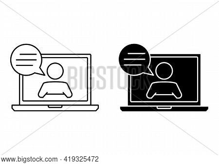 Live Webinar Icon. Laptop With Man And Speech Bubble. Online Communication, Chatting. Concept Illust