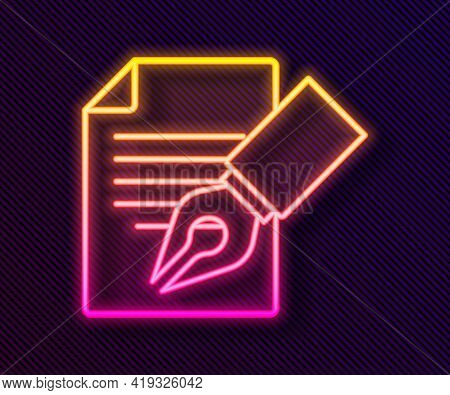 Glowing Neon Line Exam Sheet And Pencil With Eraser Icon Isolated On Black Background. Test Paper, E