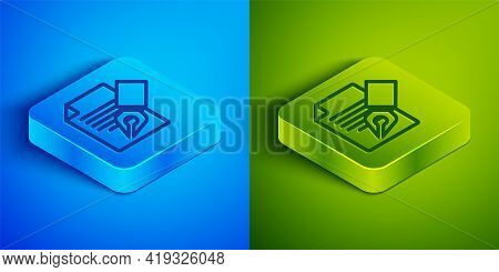 Isometric Line Exam Sheet And Pencil With Eraser Icon Isolated On Blue And Green Background. Test Pa