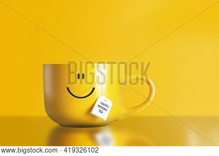 Thank God It's Monday Happy Tea With Happy Face On Big Yellow Cup On Yellow Background. The Most Hap