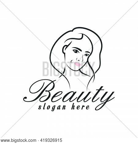 Beauty Woman Logo Design, Illustration Feminine Woman Logo, Beauty Salon Logo Icon Line Outline Mode