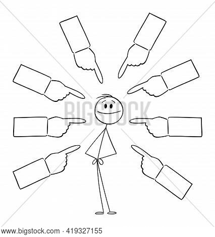 Hands Pointing At Successful Person , Vector Cartoon Stick Figure Illustration