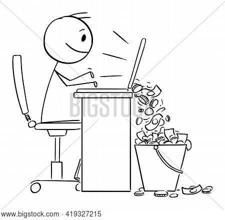 Person Or Businessman Doing Business On Computer And Earning Money Online, Vector Cartoon Stick Figu