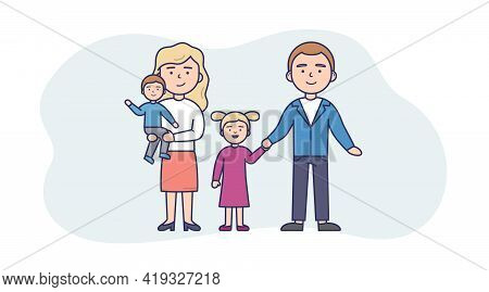 Vector Illustration In Flat Cartoon Style. Linear Composition With Outline. White Background And Cha