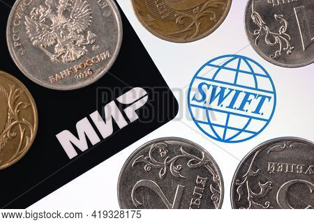 Kazan, Russia - May 4, 2021: Swift Is Society For Worldwide Interbank Financial Telecommunication Ne