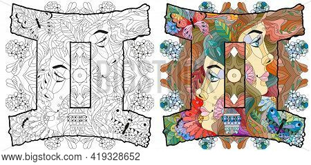 Gemini Zodiac Sign With Mandala, Astrology Concept Art. Tattoo Design. Color And Outline Set