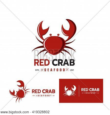 Beautiful Logo Icon Crab, Stylized Image Of Red Crab Isolated Logo Template, Crab Silhouette Emblem