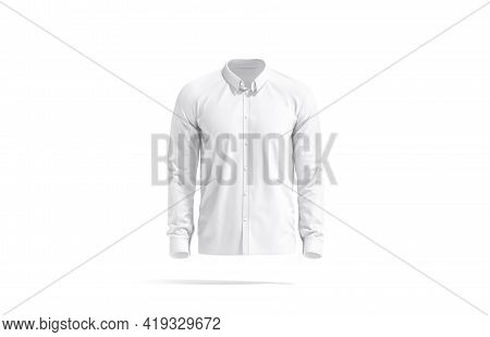 Blank White Classic Shirt Mockup, Front View, 3d Rendering. Empty Elegant Male Clothing For Office U