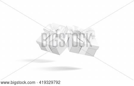 Blank White Gift Box With Ribbon Bow Mockup, No Gravity, 3d Rendering. Empty Packing Basket For Myst