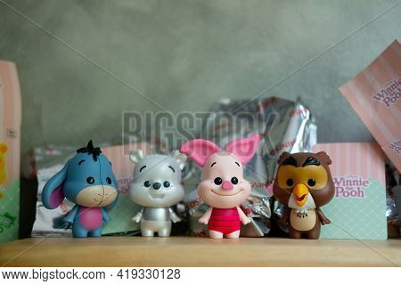 Samut Prakan , Thailand - May 4, 2021 : Cute Toy Of Winnie The Pooh Figures Mystery Box Blind Box Co