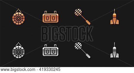 Set Classic Dart Board, Sport Mechanical Scoreboard, Tennis Racket And Dart Arrow Icon. Vector