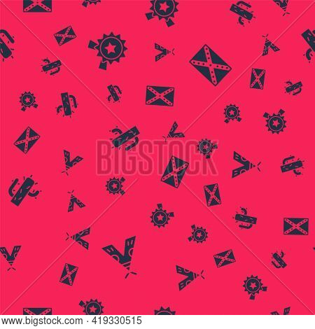 Set Indian Teepee Or Wigwam, Medal With Star, Cactus And Flag Confederate On Seamless Pattern. Vecto