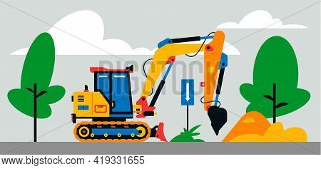 Construction Machinery Works At The Site. Construction Machinery, Excavator On The Background Of A L