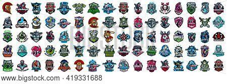 Huge Set Of Colorful Sports Logos, Emblems. Logos Of Knights, Horses, Soldier, Skull, Superhero, Soc