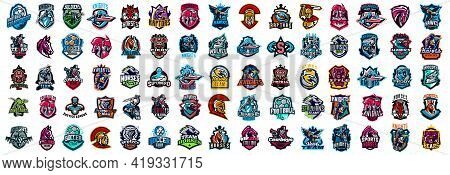 Huge Set Of Colorful Sports Logos, Emblems. Logos Of Knights, Horses, Soldier, Dinosaur, Soccer Ball