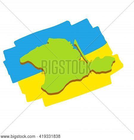 Map Of The Crimean Peninsula. Ukraine Flag. Southern Resort. Green Area. Flat Cartoon