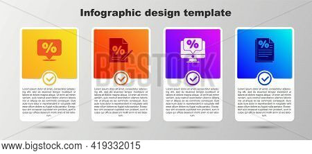 Set Discount Percent Tag, Finance Document, Percent Discount And Monitor And . Business Infographic