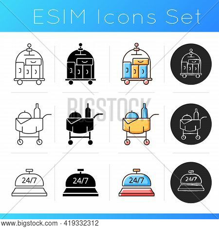 Hotel Services Icons Set. Room Service For Hotel Visitors To Choose What To Eat. Cleaning Service To