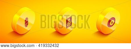 Set Isometric Sewing Thread On Spool, Stereo Speaker And Billiard Snooker Ball Icon. Vector