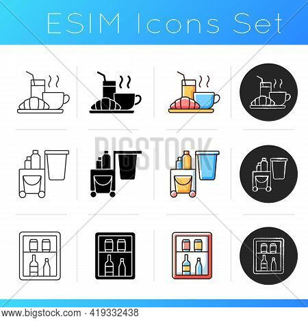 Hotel Services Icons Set. Light Morning Meal Served In Hotels For Customers. Special Meal Included I