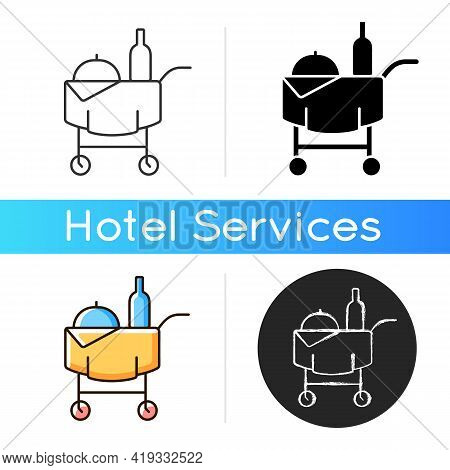 Room Service Icon. Hotel Service Enabling Guests To Choose Items Of Food And Drink For Delivery To T