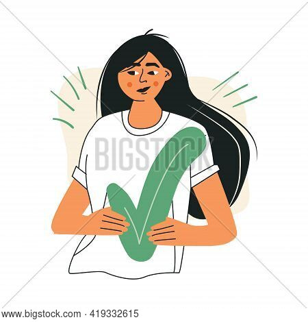 Pensive Asian Woman Successfully Complete Business Assignments. Girl Chooses The Correct Truth Answe