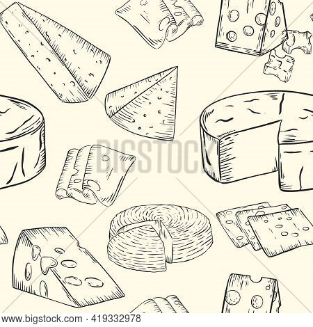 Cheese Pattern, Sketch. Various Types Of Cheese, Vector. Continuous Background With Dairy Products.