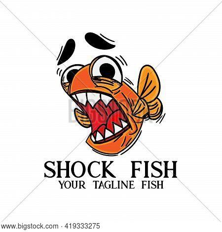 Shock Fish Cartoon Illustration Vector. . Fish Animal Vector