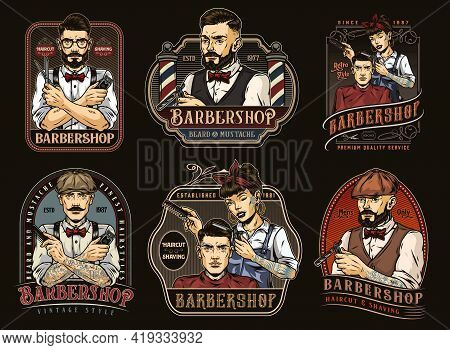 Vintage Barbershop Colorful Designs Set With Stylish Bearded And Mustached Barbers And Pretty Winkin