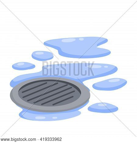 Drain In Plumbing. Sink Hole On Floor. Element Of Water Supply System. Blue Puddle And Drops Of Wate