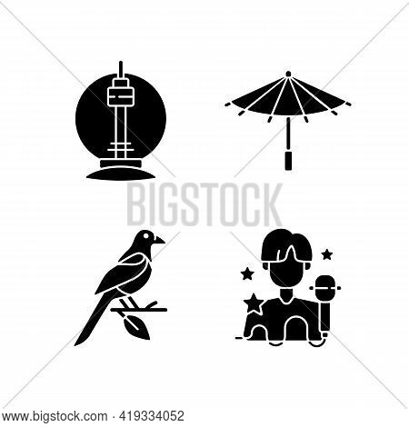 Korean Traditions Black Glyph Icons Set On White Space. N Seoul Tower. Traditional Umbrella. Orienta