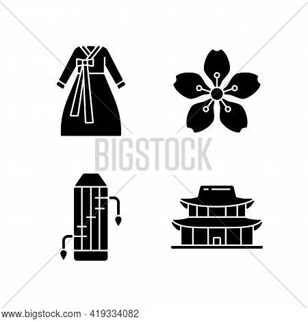 Korean Ethnic Symbols Black Glyph Icons Set On White Space. Hanbok Clothes. Gayageum Musical Instrum