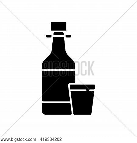 Soju Black Glyph Icon. Asian Alcoholic Drink. Alcohol In Bottle. Japanese Sake. Beer, Liquor. Korean