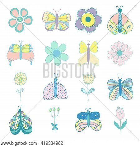 Vector Set Of Isolated Butterflies And Flowers In Pastel Colors. For Invitations, Greeting Cards, Te