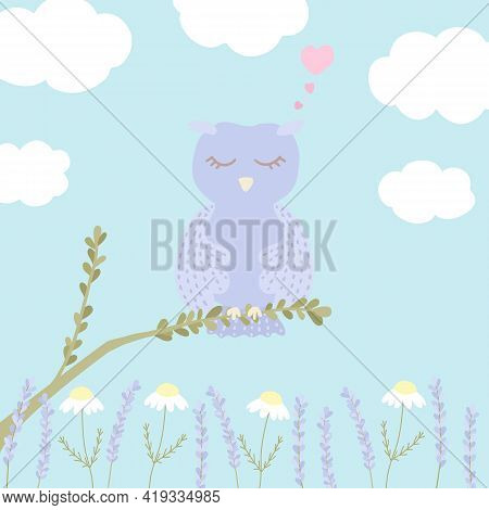 Vector Illustration With Cute Sleeping Owl, Clouds, Chamomile And Lavender On Blue Background. For N