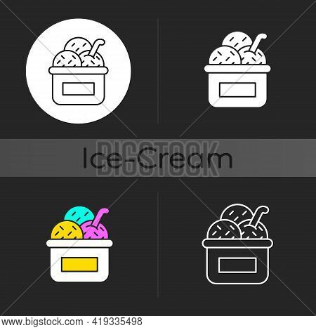 Ice Cream In Cup Dark Theme Icon. Frozen Treat. Smooth Consistency. Creamy Dessert. Decorating With