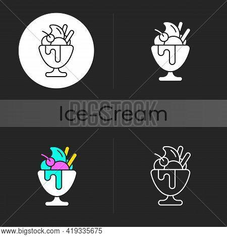 Frozen Yogurt Dark Theme Icon. Sweetened Frozen Dessert. Parfait. Decoration With Various Toppings.
