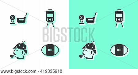 Set Rugby Ball, Golf Club With On Tee, Sherlock Holmes And Tram And Railway Icon. Vector