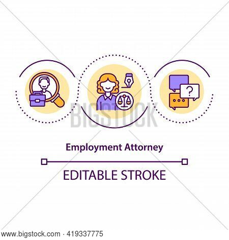 Employment Attorney Concept Icon. Professional Help In Finding Job Idea Thin Line Illustration. Empl